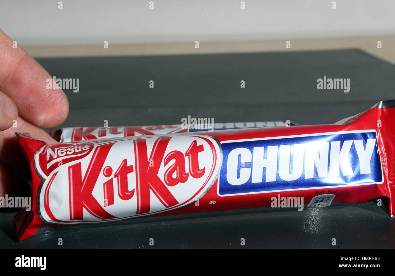 File photo dated 19/02/13 of a Nestle Kit Kat Chunky chocolate bar, as shrinking the size of a chocolate bar is - Stock Image