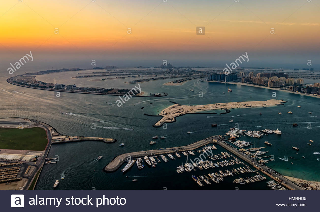 A view of the Palm Jumeirah from the rooftop of Cayan Tower in Dubai, UAE. - Stock Image
