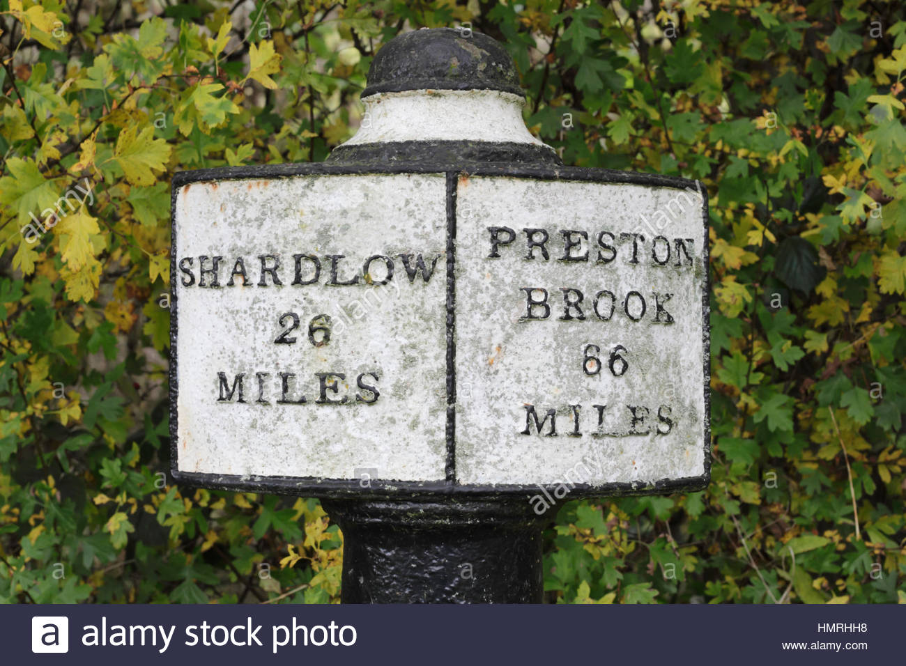 Milepost on the Trent and Mersey Canal, Fradley, England, UK. - Stock Image