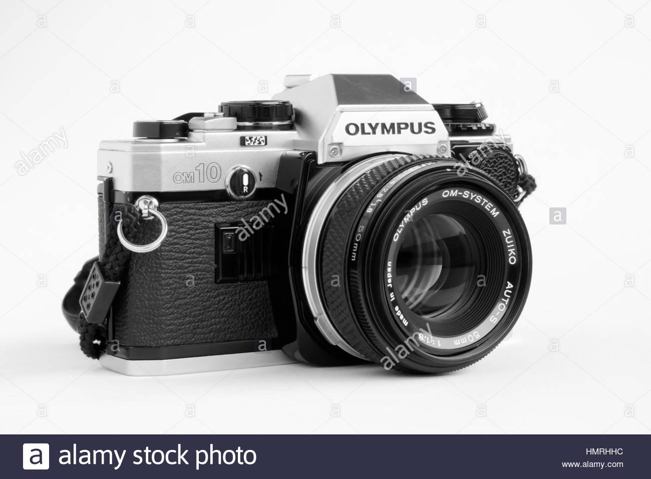 Olympus OM10 35mm Film Camera, Black and White Stock Photo