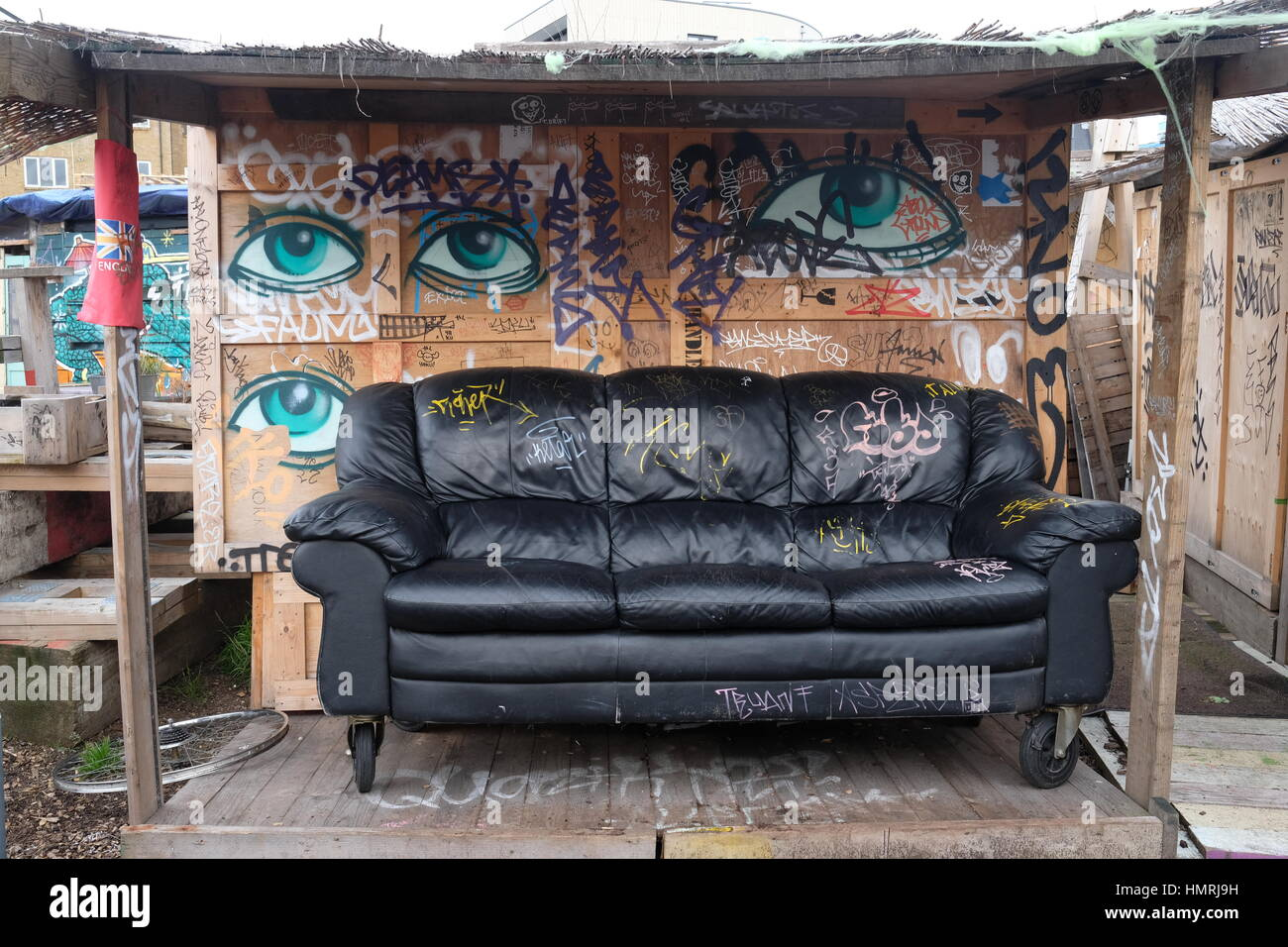 Leather Sofa Inside The Open Artistic Wooden Shed Decorated