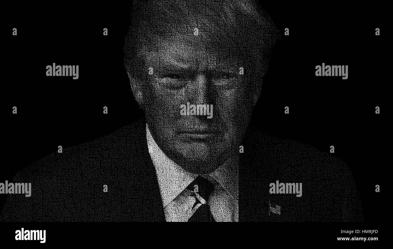 Illustration featuring US president Donald Trump made with words often used during his speeches. - Stock Image