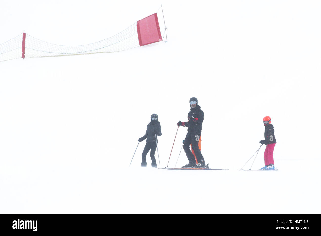 Spain´s Kings, Felipe of Borbon with their daughters princesses Leonor and Sofia skiing in Astun, Huesca, on Sunday Stock Photo