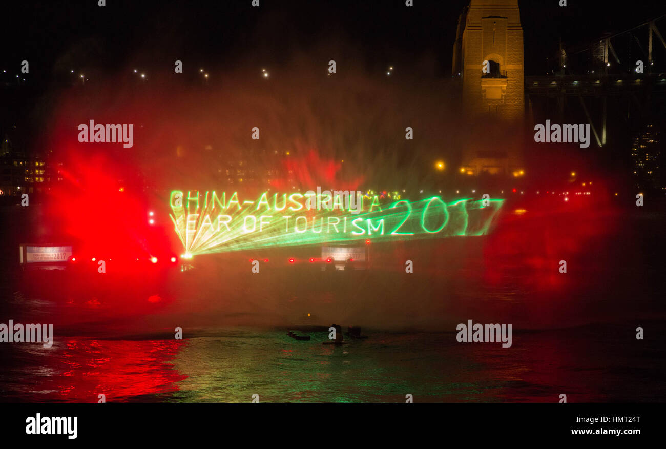 Sydney. 5th Feb, 2017. Photo taken on Feb. 5, 2017 shows a scene of a light show on water curtain after the launching - Stock Image