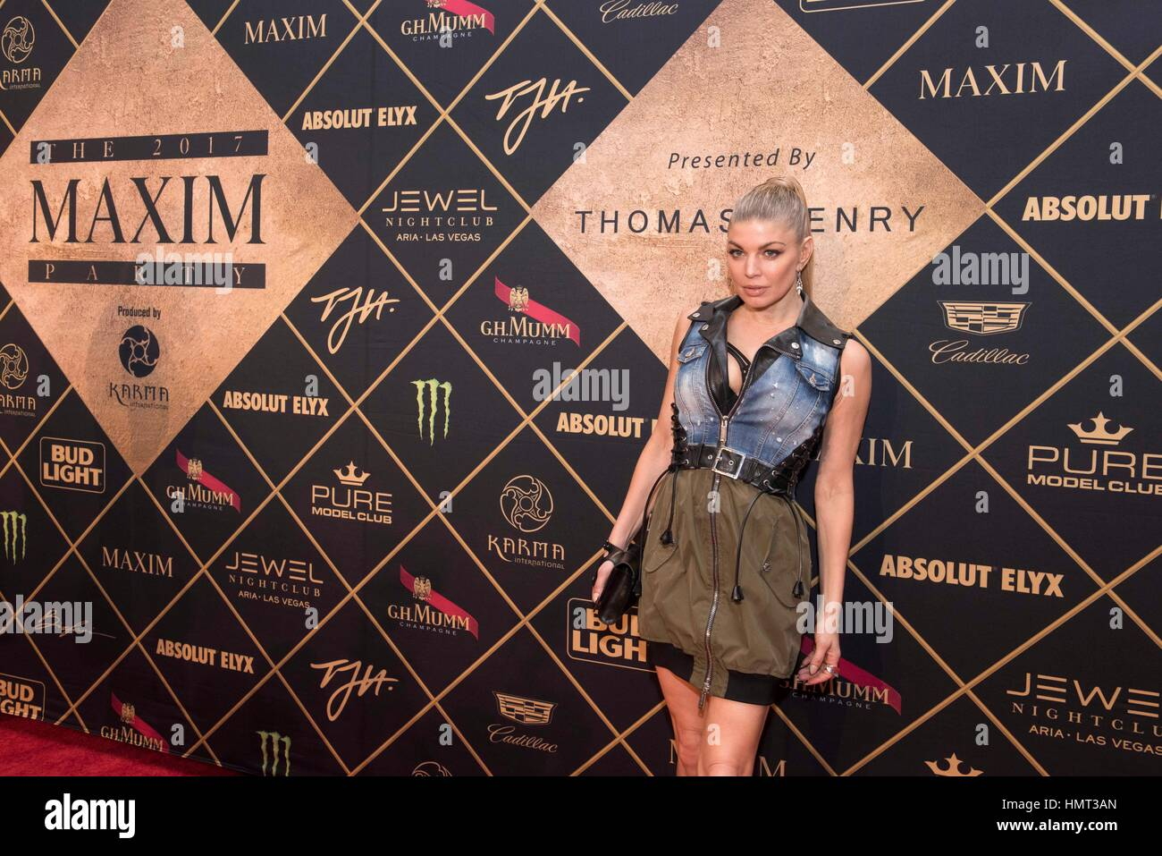 Fergie attends the red carpet at the 2017 Maxim Party for Super Bowl LI at Smart Financial Centre on February 4, 2017 in Houston, Texas.