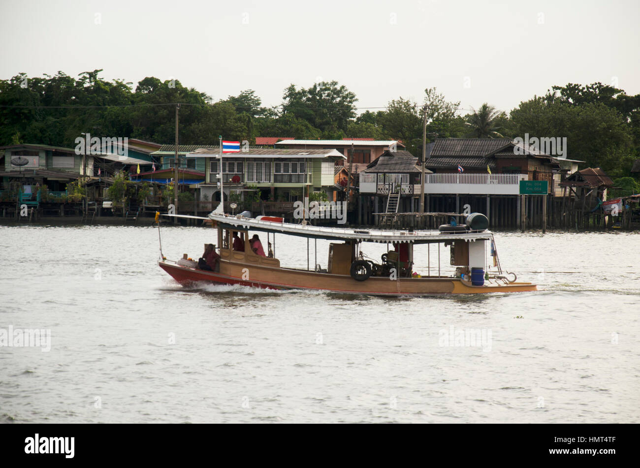 Boat pull barge and tugboat cargo ship in Chao Phraya River with old ...
