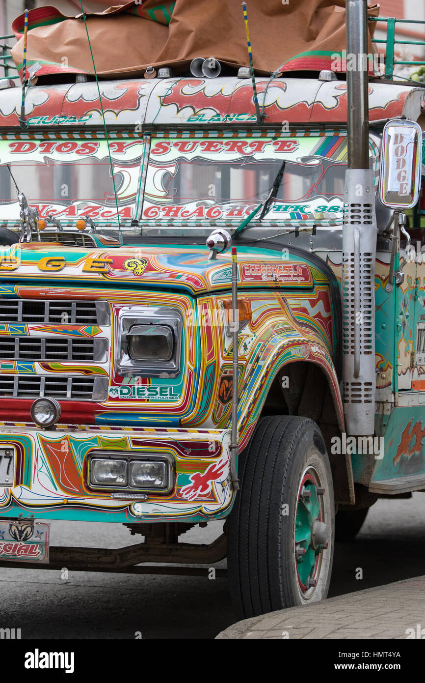 September 6, 2016 Silvia, Colombia: buses painted bright colors public transportation - Stock Image