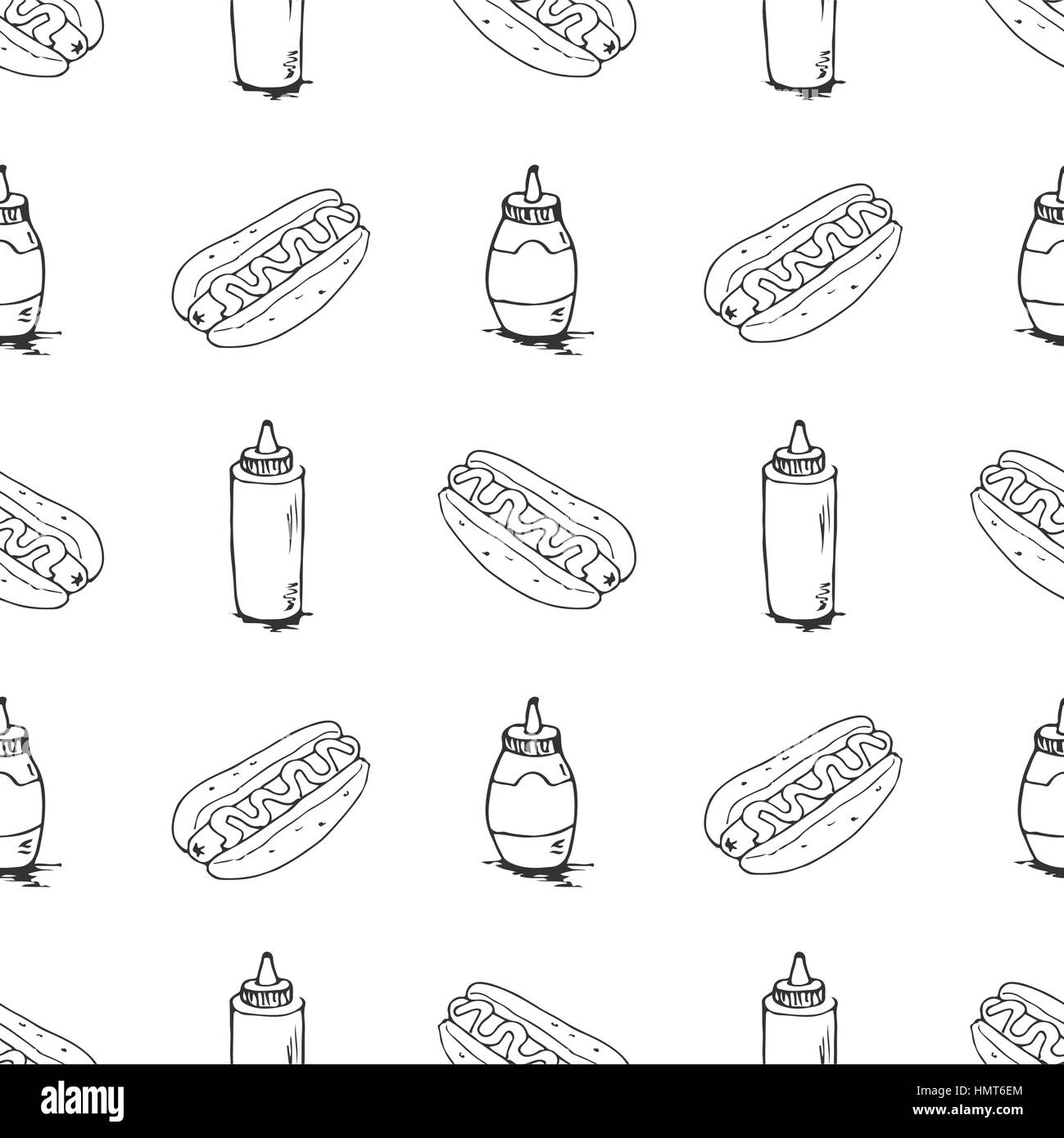 Hotdog seamless texture. Fast food pattern. Continuous background from hand drawn sketches. Hot dogs and plastic - Stock Vector