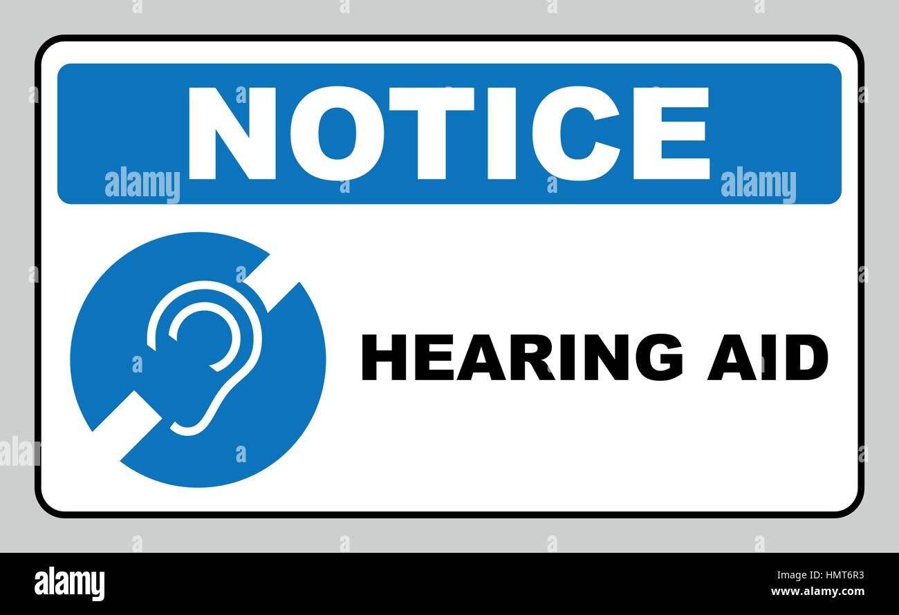 Notice Symbol Hearing Aid Banner Hearing Support Icon Isolated On