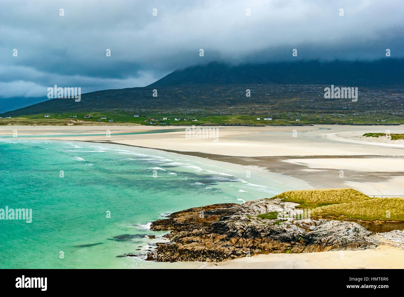 Sandy beaches with white sands on the west coast of Harris near Seilebost in the Hebrides Scotland - Stock Image