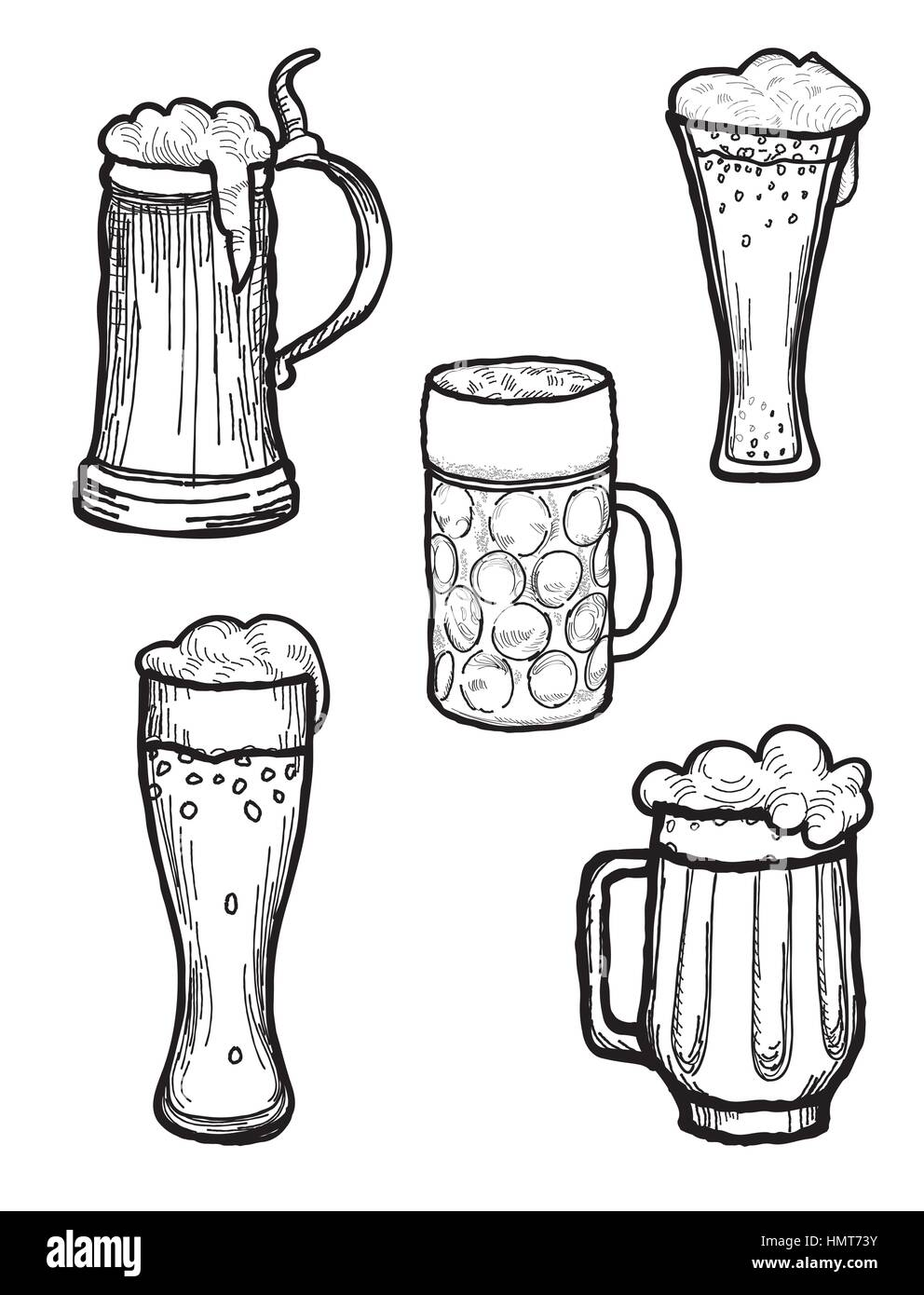 Beer Ware Set In Retro Style Beer Mug And Beer Glass Silhouette Stock Vector Image Art Alamy