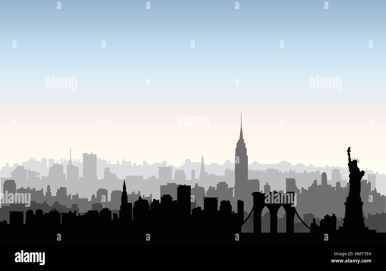 New York, USA skyline. NYC city silhouette with Liberty monument. American landmarks. Urban  architectural landscape. Stock Vector