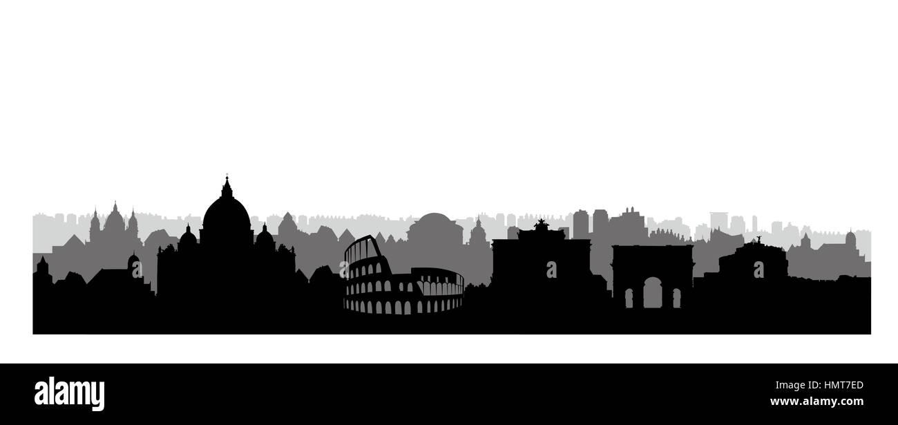 Rome city skyline. Italian urban landscape landmark silhouette. Rome urban architectural background. Cityscape with - Stock Image