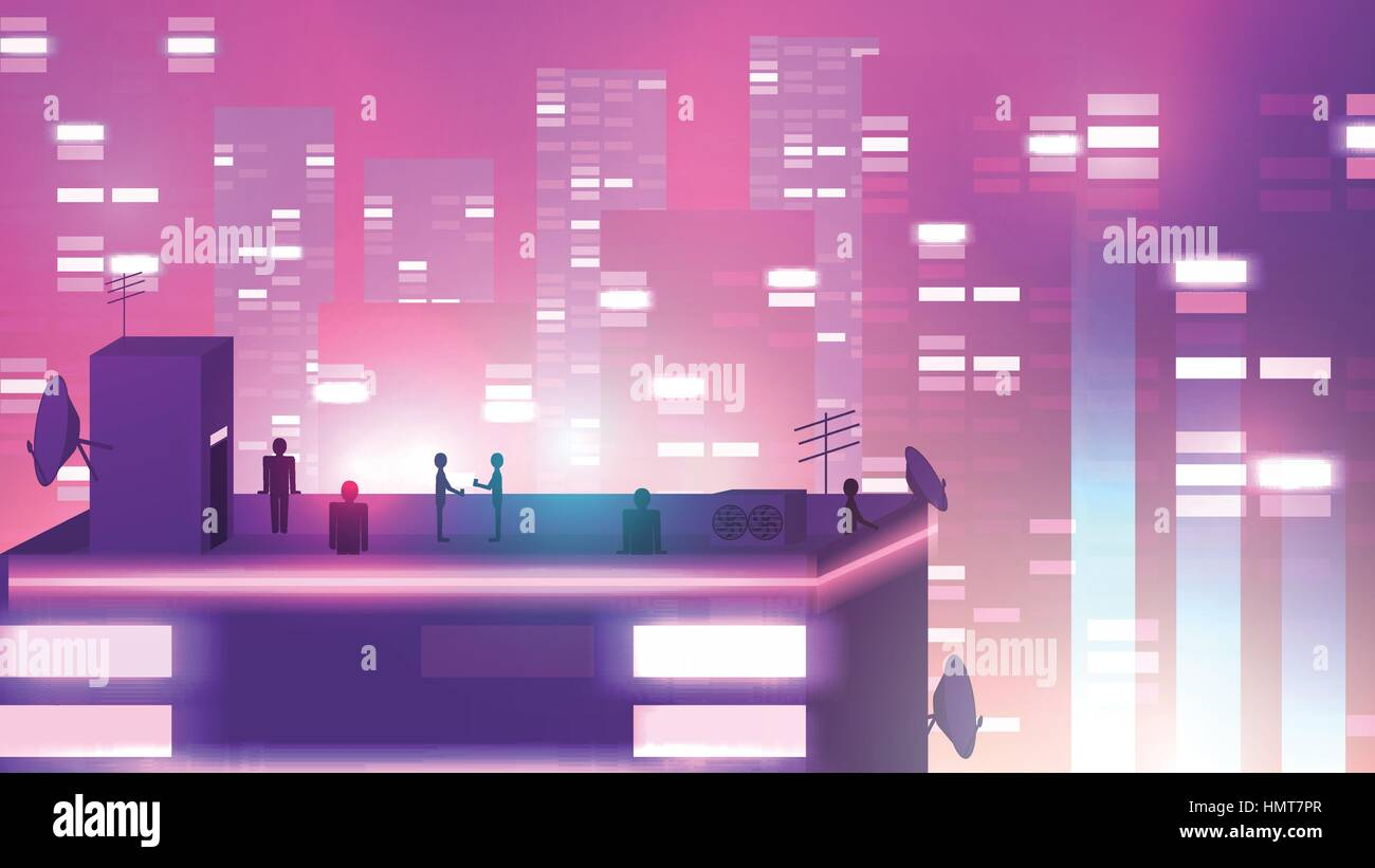 Modern Urban Neon Cityscape scene with Building Silhouettes, Towers and Rooftop Party - Vector Illustration - Stock Image