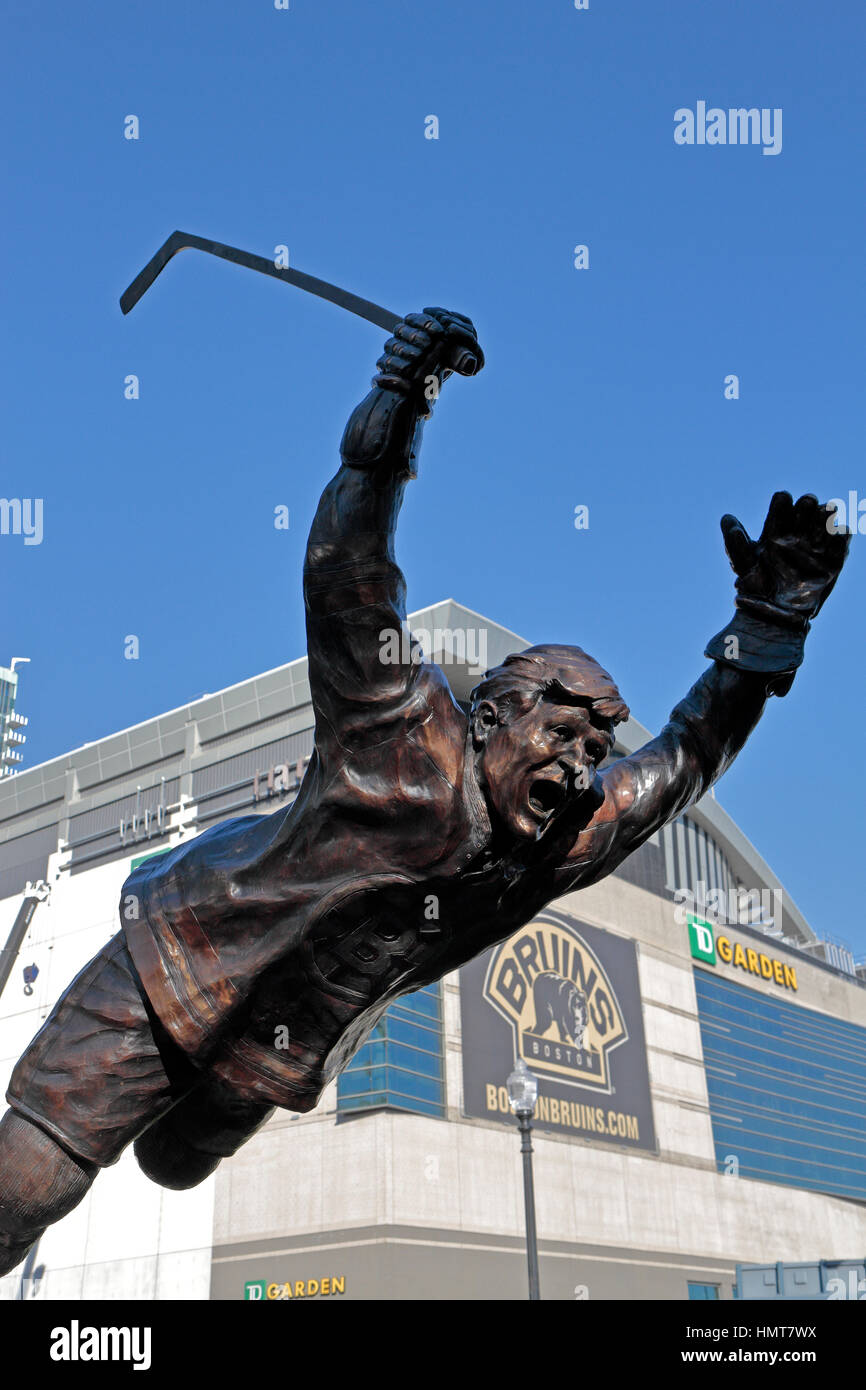 The Bobby Orr statue outside TD Garden, the home arena for the Boston Bruins of the National Hockey League in Boston, - Stock Image