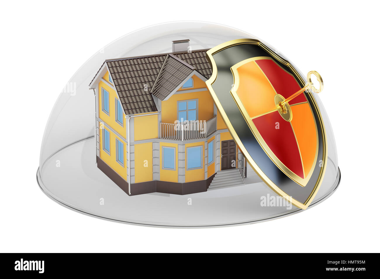 Home security and protection concept, house covered by glass dome. 3D rendering - Stock Image