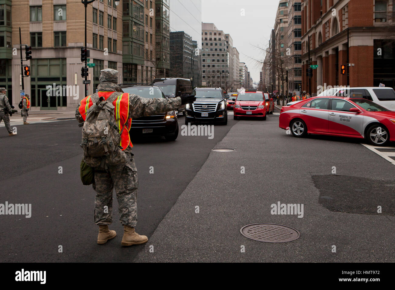 Army National Guard members directing traffic - Washington DC USA - Stock Image