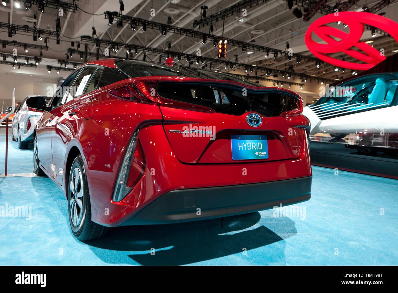 2017 Toyota Prius Prime model display at Washington Auto Show - Washington, DC USA - Stock Image