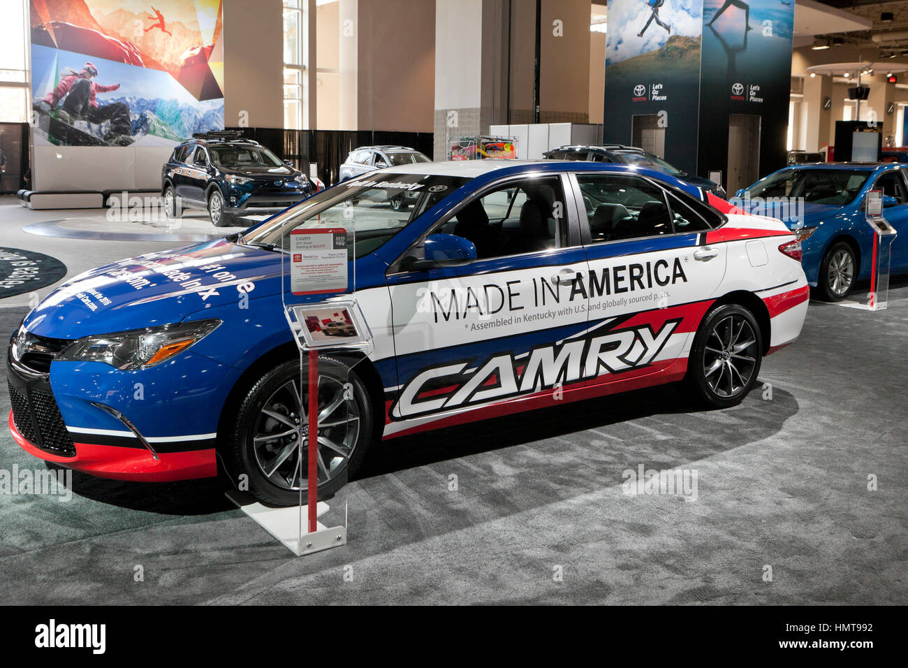 2017 toyota camry model with made in america decals on display at the 2017