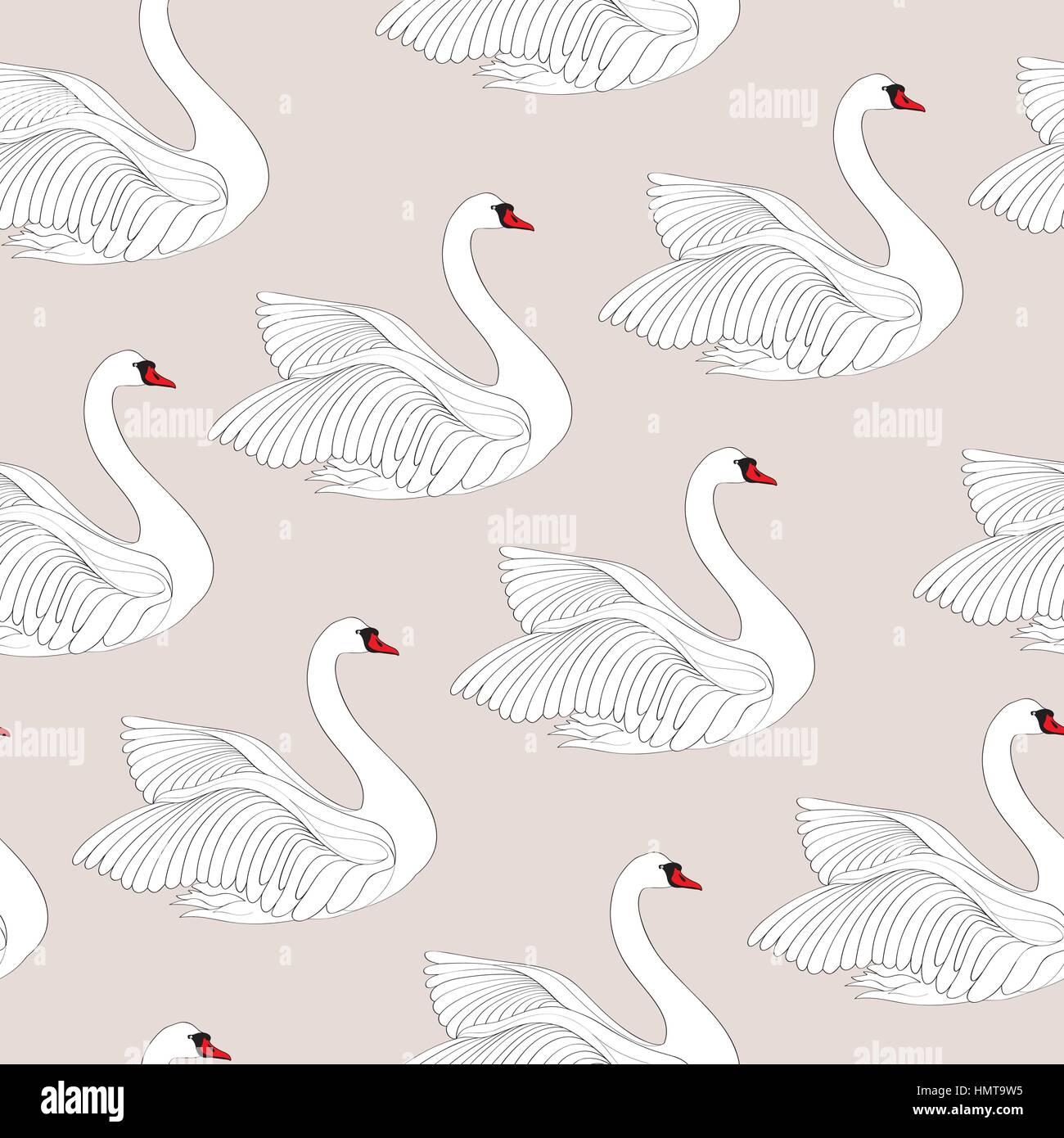 White bird swan seamless pattern. Wed gentle background - Stock Image