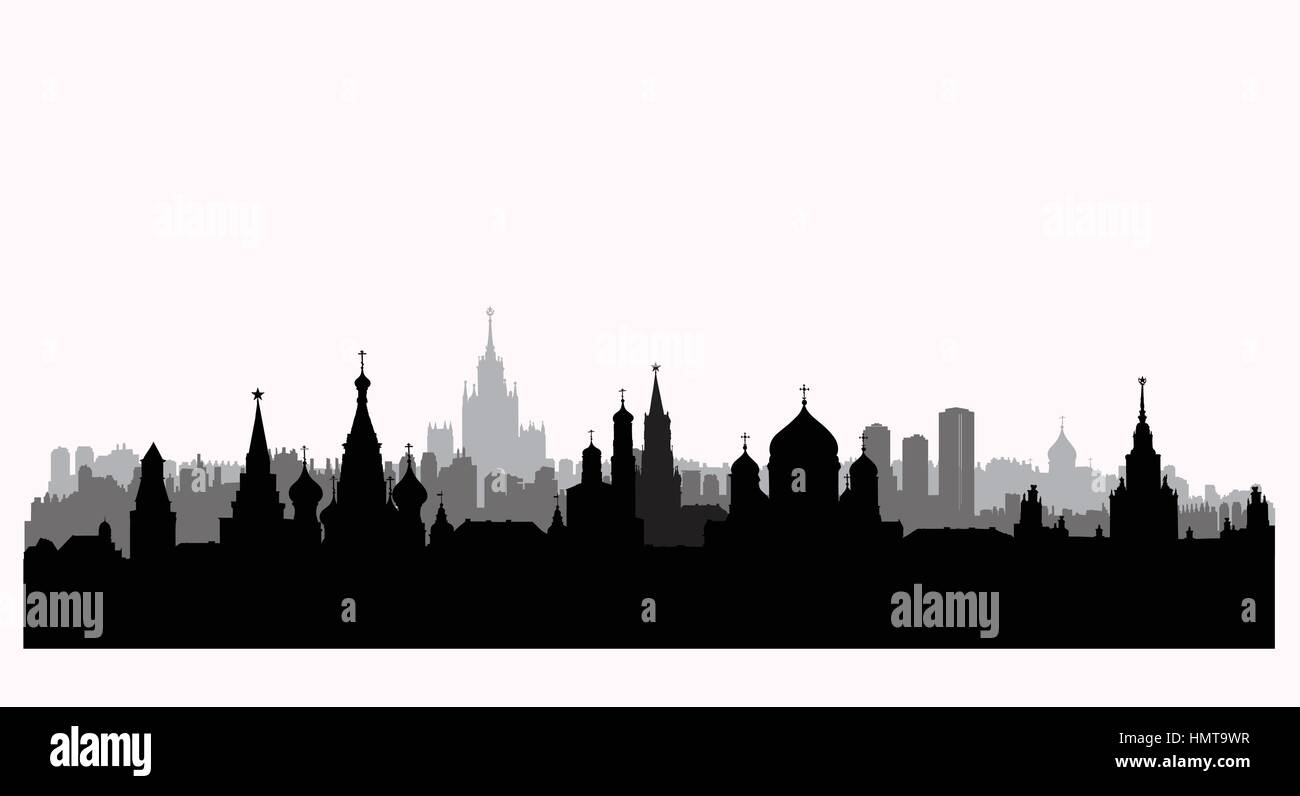 Moscow city buildings silhouette. Russian urban landscape. Moscow cityscape with landmarks. Travel Russia background - Stock Image