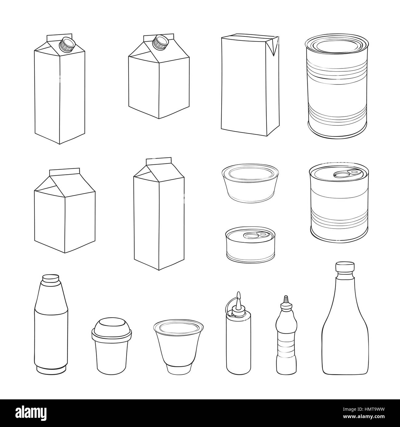 Pack set. Different package outline doodle drawn icon collection. - Stock Vector