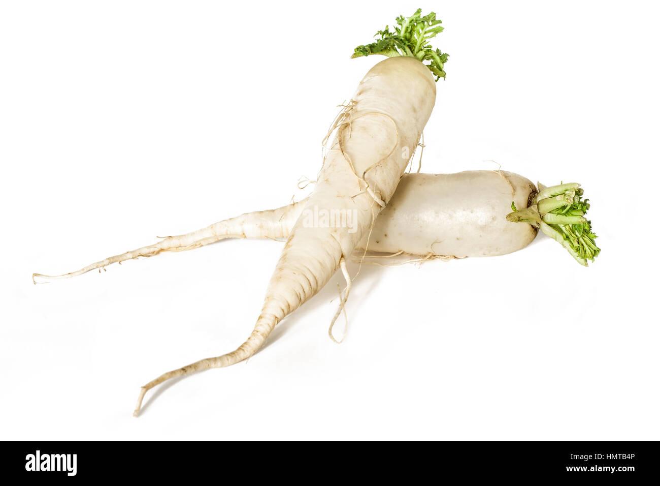Raw Daikon radish isolated on white background. - Stock Image