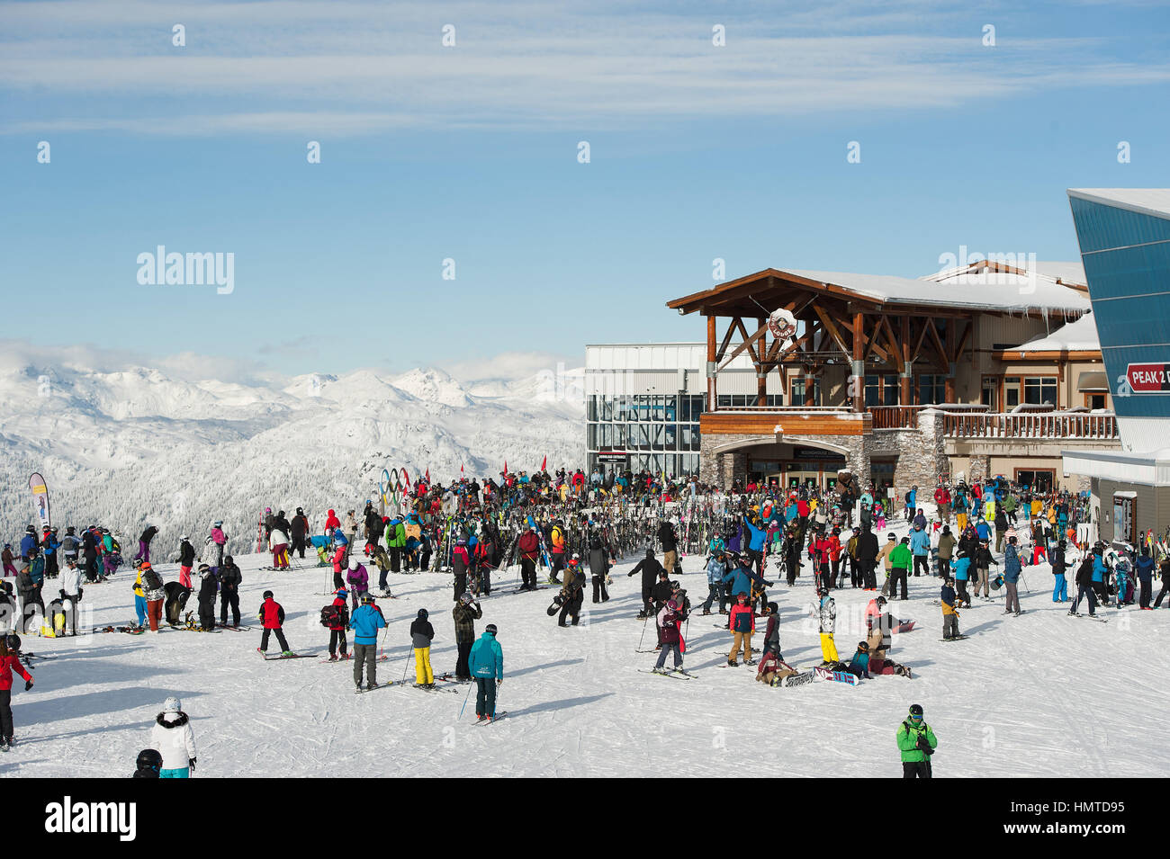 The Roundhouse Lodge at the top of Whistler Mountain on a sunny day in the winter.  Whistler BC, Canada. - Stock Image