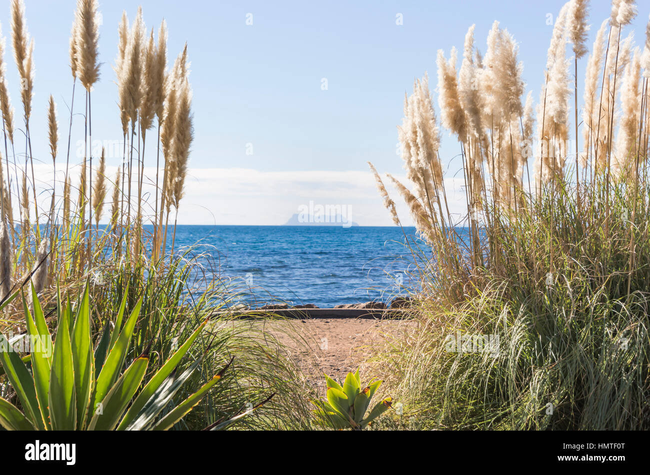 Far view of Gibraltar from Estepona, Costa del Sol, malaga, Spain. - Stock Image