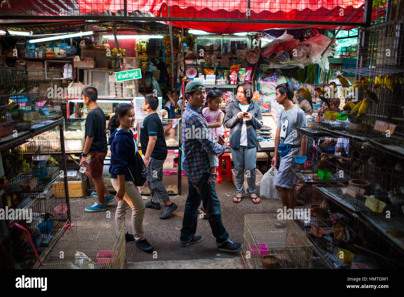 People in Chatuchak market, Bangkok - Stock Image