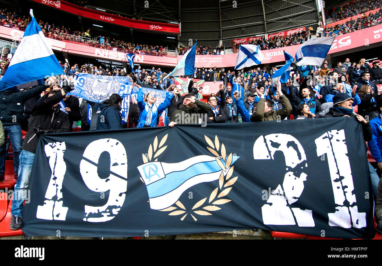 Gijon, Spain. 05th February, 2017. Supporters of Alaves cheer their team during the 21st round match of Season 2016/2017 - Stock Image