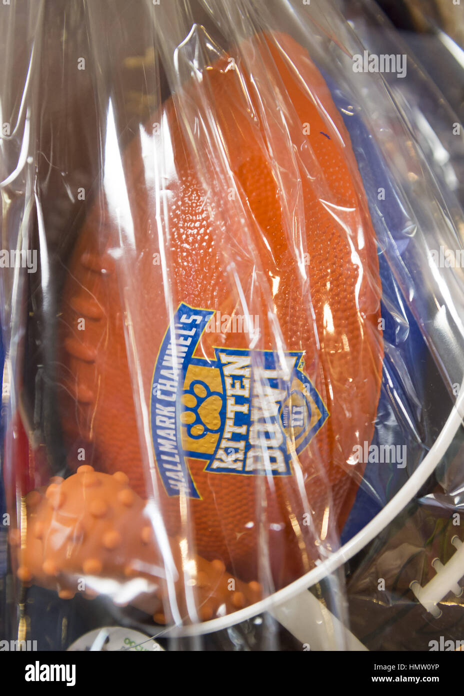 Wantagh, New York, USA. 5th Feb, 2017. A gift basket filled with Kitten Bowl and NY orange and blue football game - Stock Image