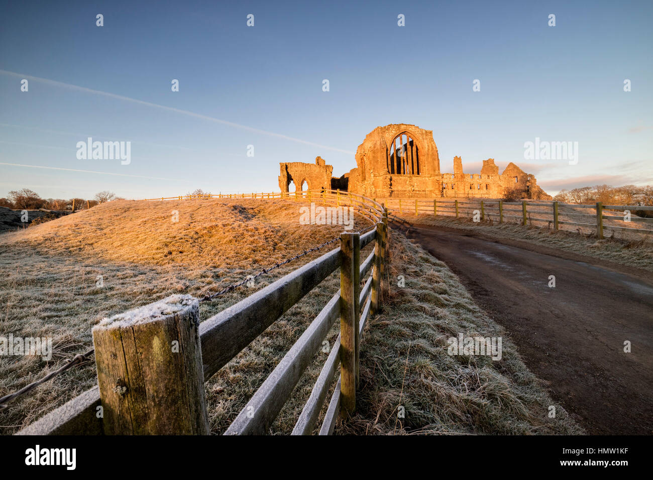 Egglestone Abbey, Barnard Castle, Teesdale, Co Durham, UK. 6th February 2017. UK Weather. It was a bright frosty - Stock Image