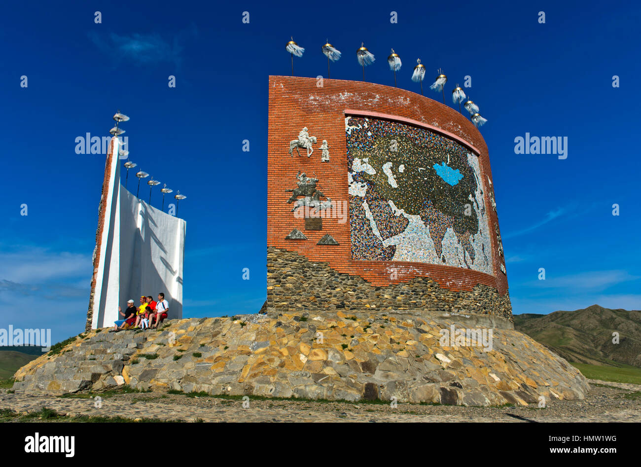 Tourists at the Great Imperial Map Monument, Kharkhorin, Mongolia - Stock Image