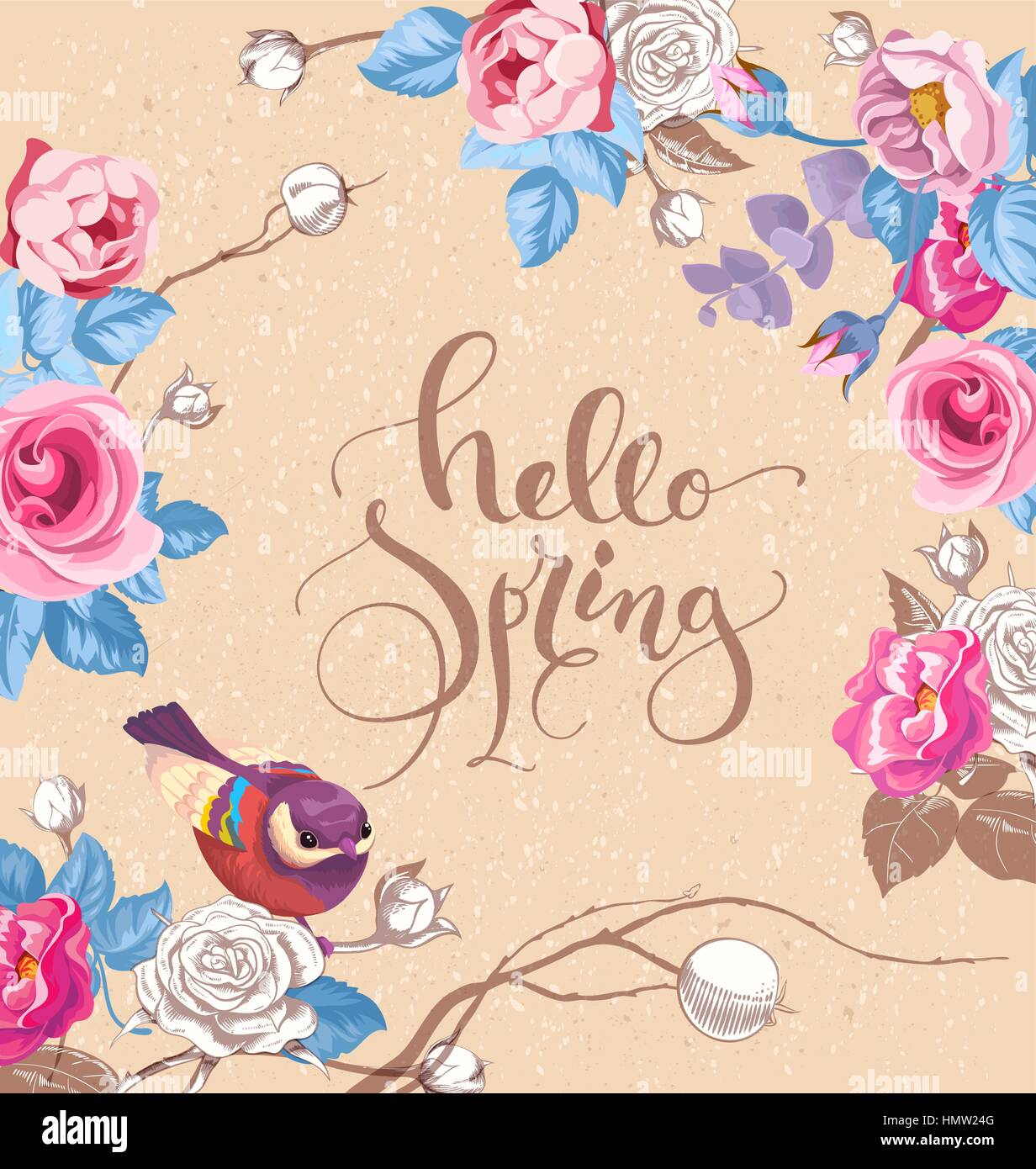 Greeting card with elegant hand written lettering Hello Spring. Cute little bird, and roses on background. Vector - Stock Image