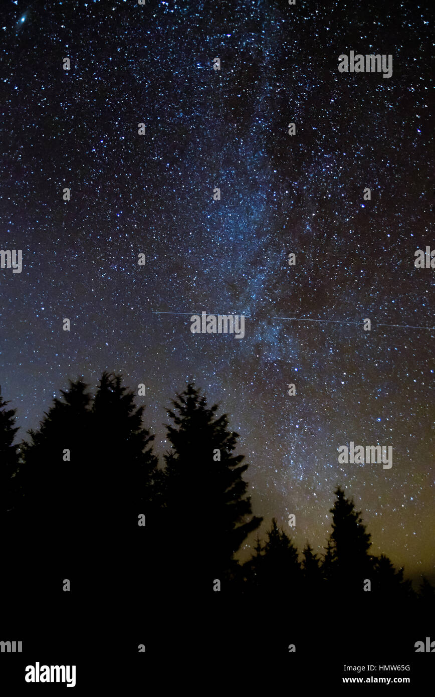 International Space Station passing in front of Milky Way, with coniferous forest silhouette in foreground, in Brecon - Stock Image