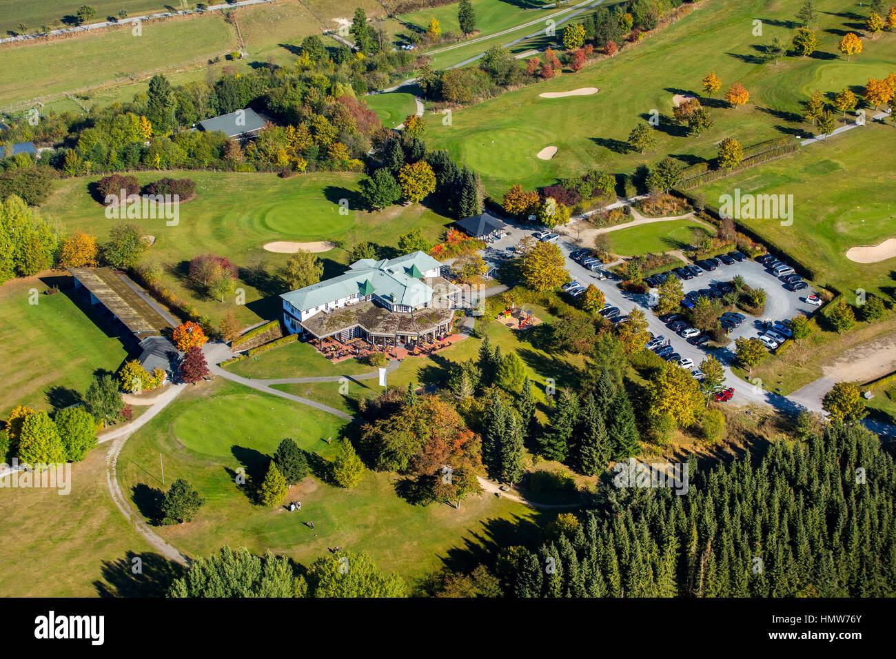 Golfclub Schmallenberg with clubhouse, aerial view, Bad Fredeburg, Schmallenberg, Hochsauerlandkreis, North Rhine - Stock Image