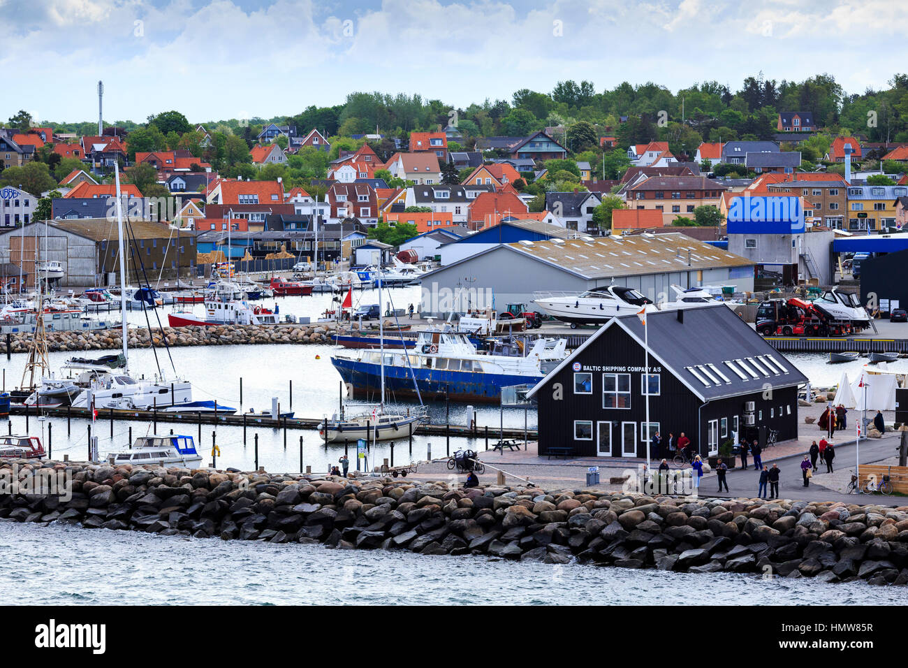 View of harbour Hundested, Denmark - Stock Image