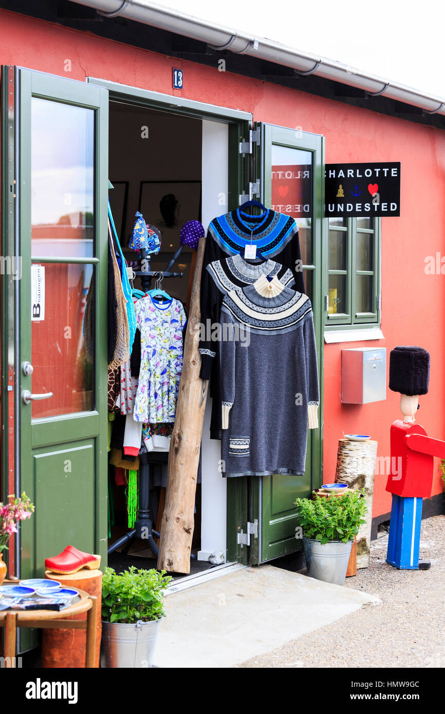 arts and crafts shops, Hundested harbour, Denmark - Stock Image