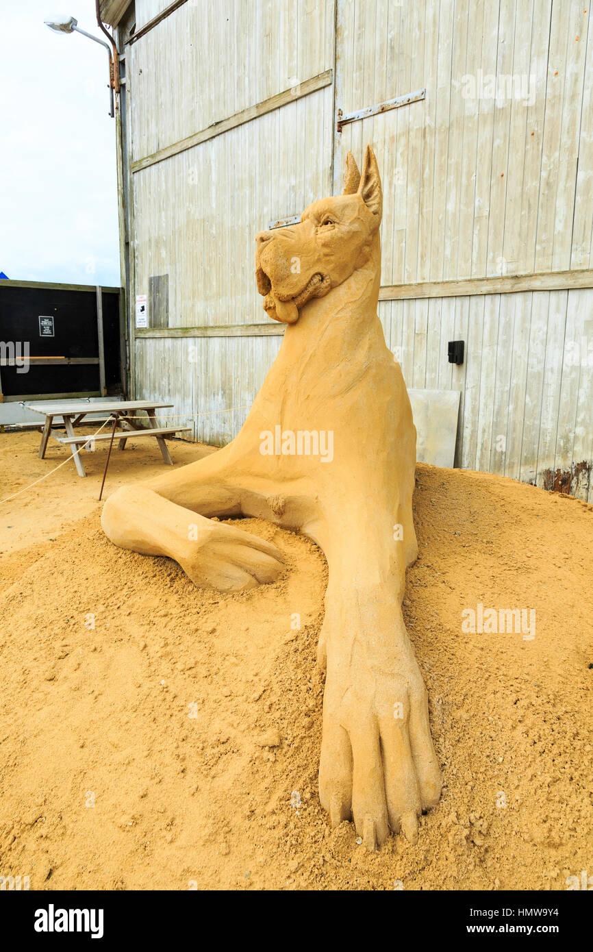sand sculpture park in Hundested, Denmark - Stock Image