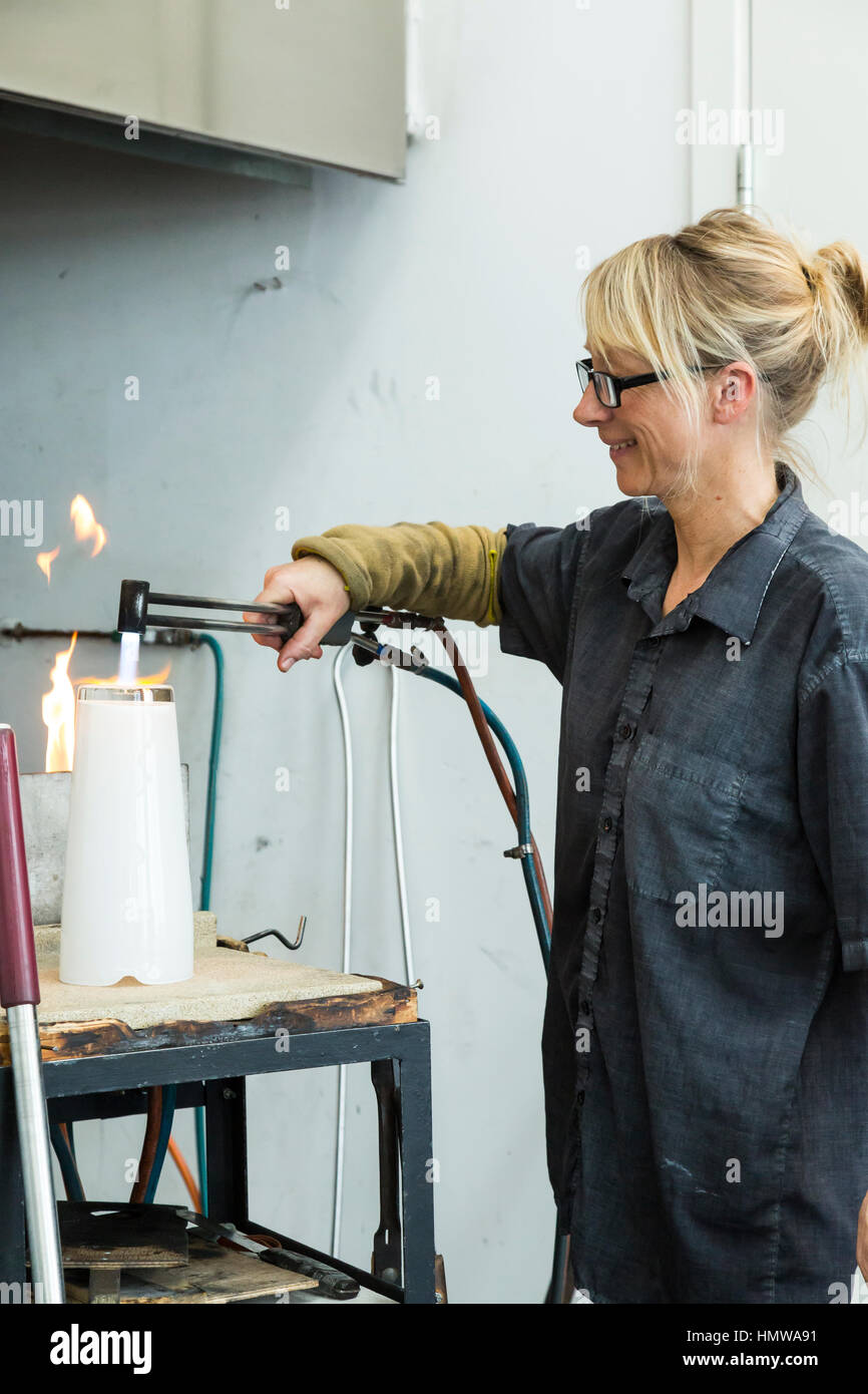 glass blowing in Hundested, Denmark - Stock Image