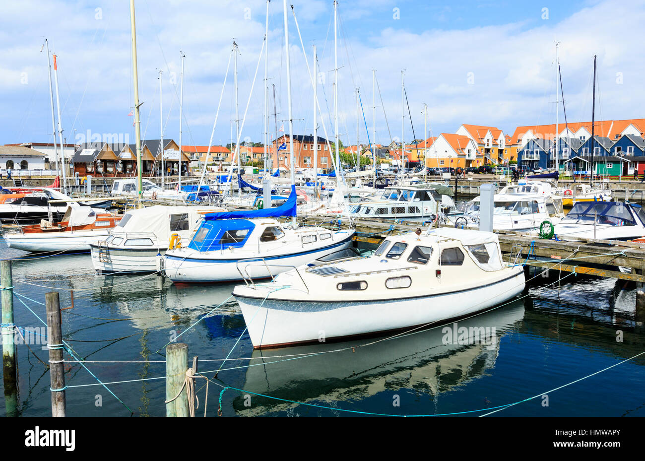boats in the marina of Hundested, Denmark - Stock Image