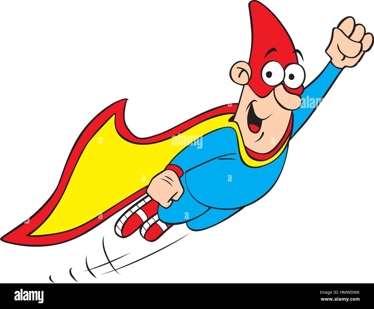 Vector illustration of cartoon geek hero character - Stock Vector