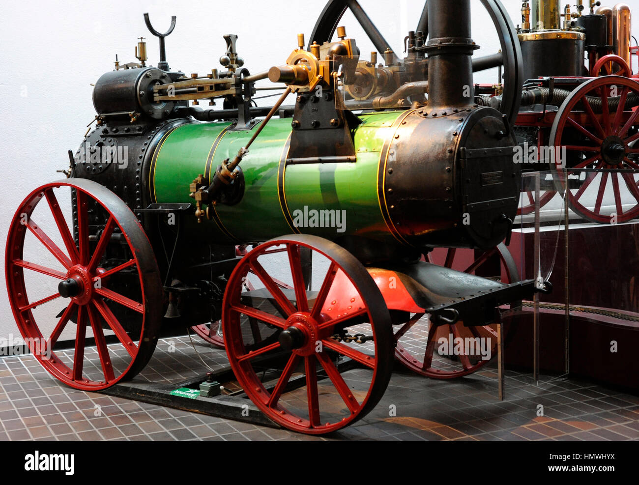 Steam tractor. Marshall & Sons, Co, Gainsborough, England. 1896. Maritime and Science Museum. Malmo. Sweden. - Stock Image