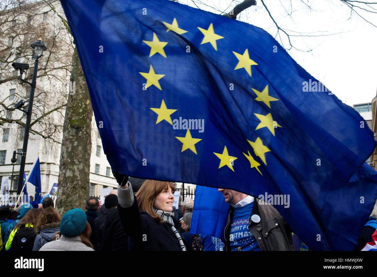 February 4th 2017. A small demonstration opposite Downing Street by supporters of Remain (in the European Union) - Stock Image