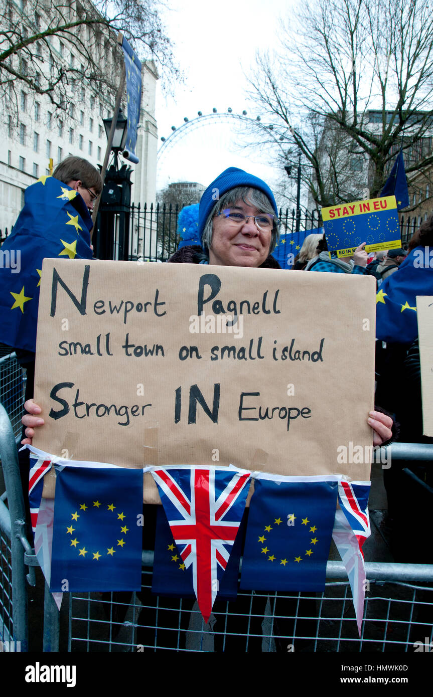 London, February 4th 2017. A small demonstration opposite Downing Street by supporters of Remain (in the European - Stock Image