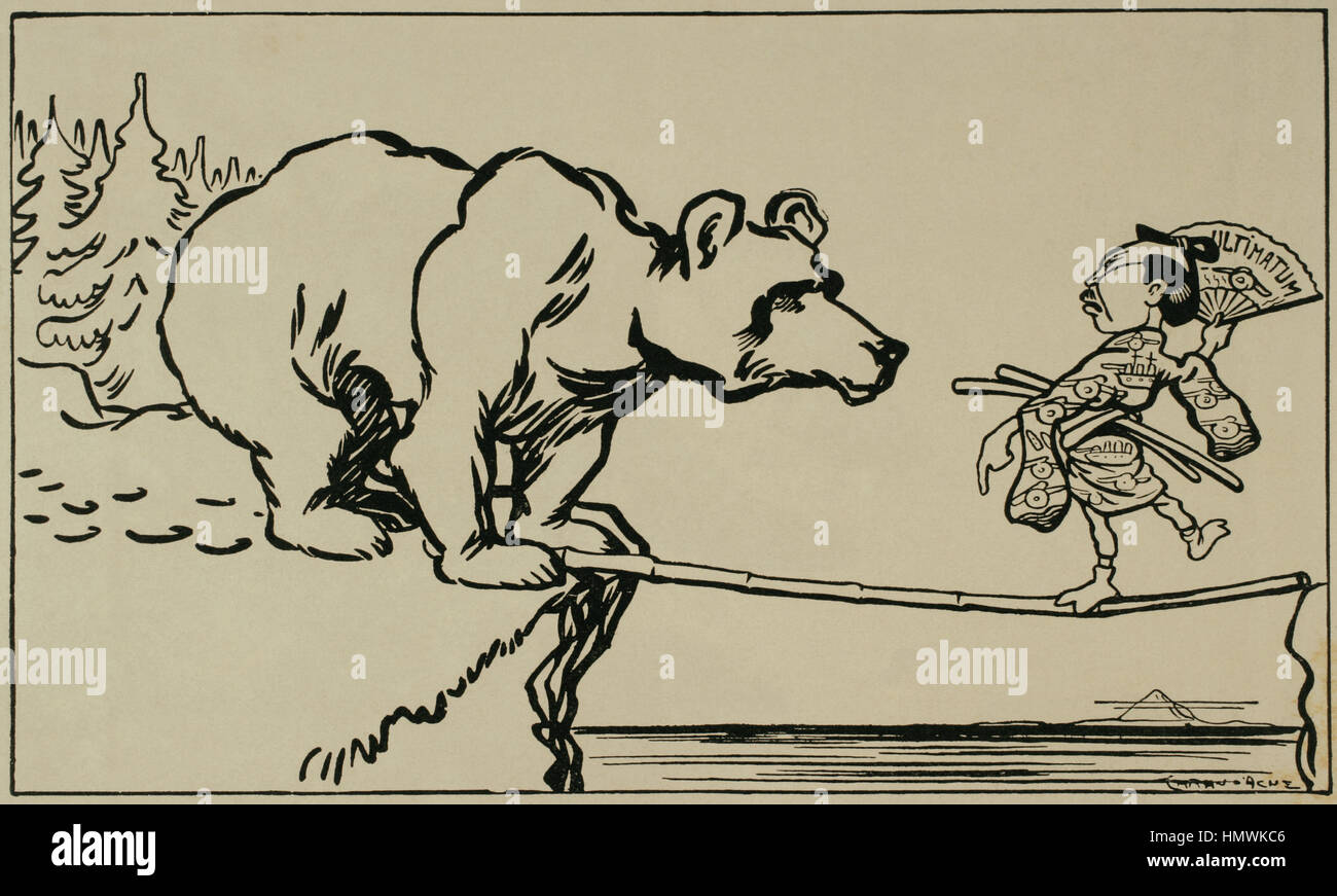 Russo-Japanese War (1904-1905). A dangerous business. Caricature by Caran d'Ache (1858-1909). - Stock Image