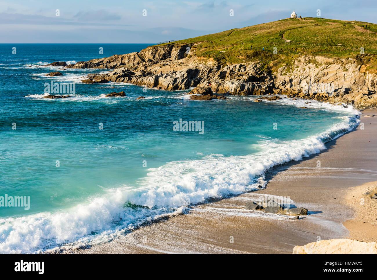 Crashing waves at Fistral Beach, Newquay, Cornwall, UK - Stock Image
