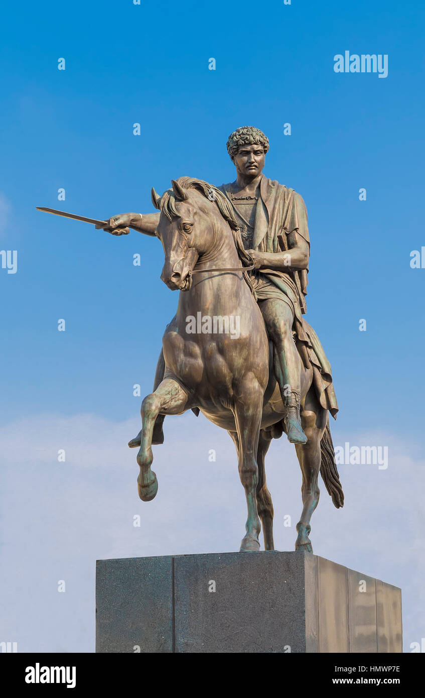 Jozef Poniatowski monument in the courtyard of the royal palace. Warsaw. Poland Stock Photo