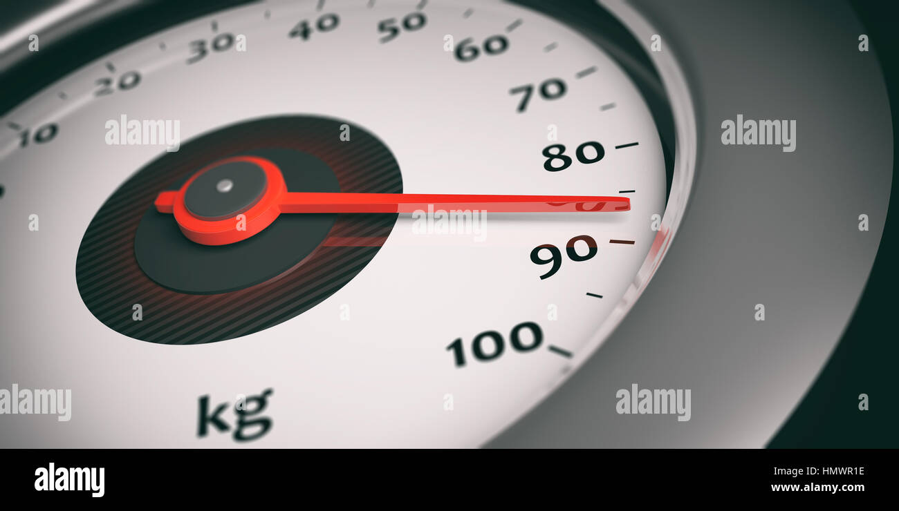 Car speedometer with weight indicator. 3d illustration - Stock Image